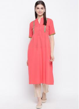 Delightful Rayon Fancy Pink Party Wear Kurti