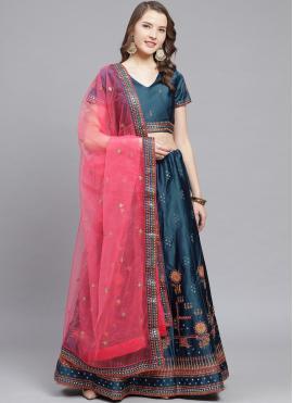 Delightful Satin Embroidered Blue Bollywood Lehenga Choli
