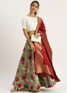 Delightful Satin Printed Grey Designer Lehenga Choli