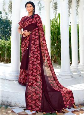 Delightful Vichitra Silk Wine Saree