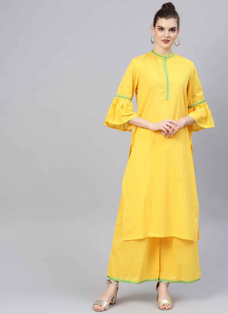 Delightful Yellow Cotton Kurta Pyjama