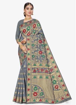 Delightsome Banarasi Silk Grey Designer Traditional Saree