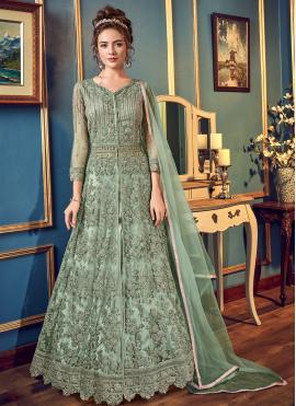 Delightsome Green Cord Long Choli Lehenga