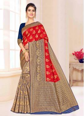 Delightsome Weaving Red Banarasi Silk Classic Saree