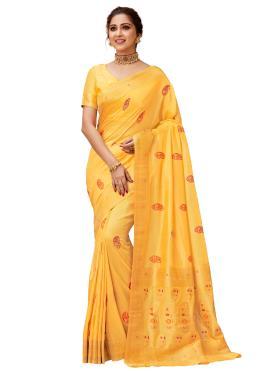 Delightsome Yellow Weaving Contemporary Saree