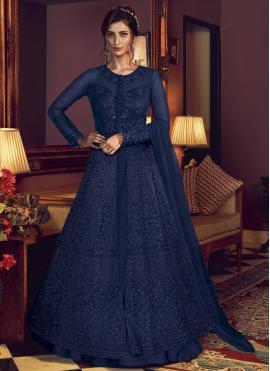 Demure Blue Sangeet Designer Floor Length Suit