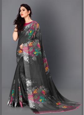 Demure Cotton Black Trendy Saree