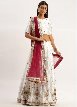 Demure Embroidered Satin Silk Lehenga Choli