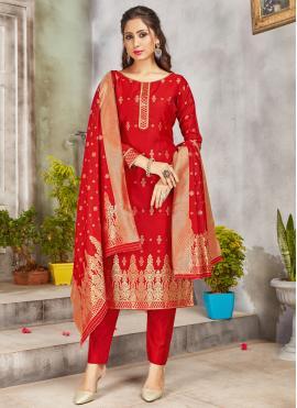 Demure Red Woven Art Banarasi Silk Pant Style Suit