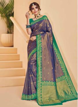 Demure Silk Weaving Purple Designer Saree