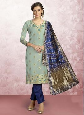Deserving Blue Print Banarasi Silk Churidar Designer Suit