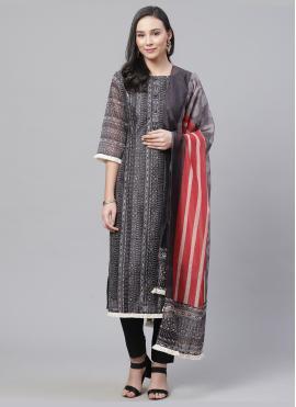 Deserving Chanderi Multi Colour Digital Print Straight Salwar Kameez