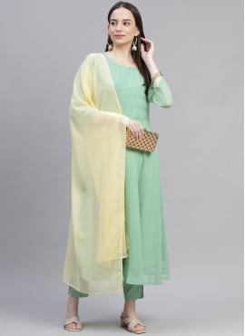 Deserving Faux Georgette Sea Green Embroidered Designer Suit