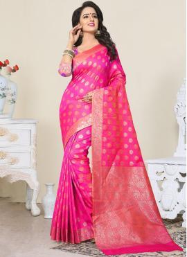 Deserving Hot Pink Banarasi Silk Designer Traditional Saree