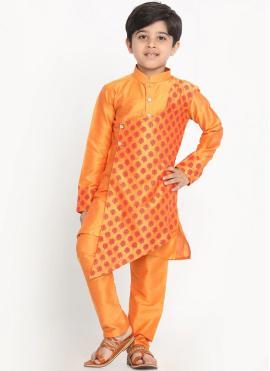 Deserving Orange Dupion Silk Printed Angrakha
