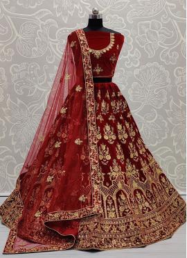 Deserving Resham Velvet Maroon Lehenga Choli