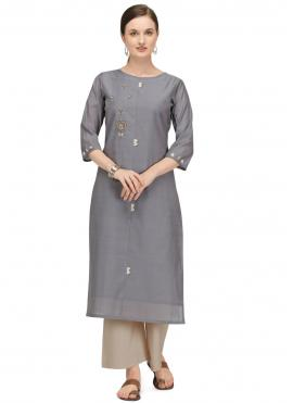 Designer Kurti Fancy Chanderi in Grey