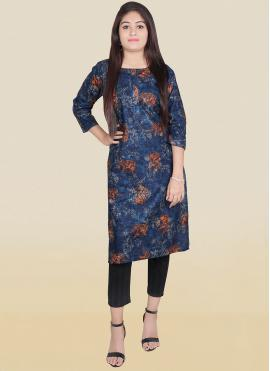 Designer Kurti Print Cotton in Blue