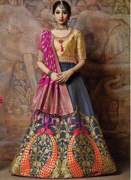 Designer Lehenga Choli Resham Silk in Navy Blue