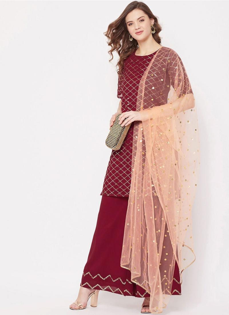 Designer Pakistani Salwar Suit Fancy Faux Georgette in Maroon