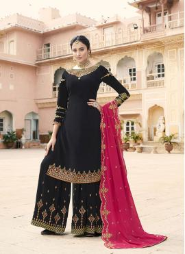 Designer Pakistani Suit Embroidered Faux Georgette in Black