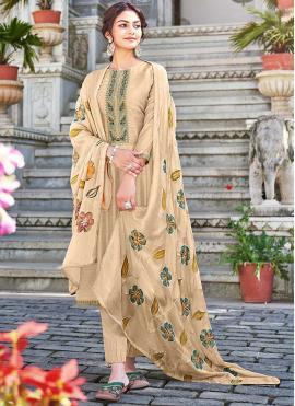 Designer Palazzo Suit Embroidered Cotton Silk in Beige