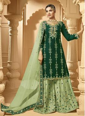Designer Palazzo Suit Embroidered Faux Georgette in Green