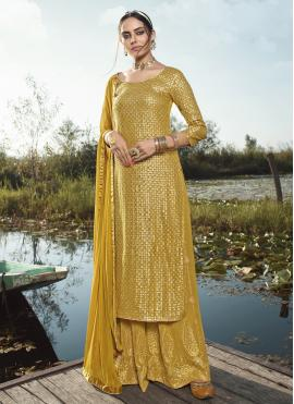 Designer Palazzo Suit Embroidered Faux Georgette in Yellow