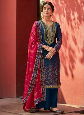Designer Palazzo Suit Embroidered Satin in Navy Blue