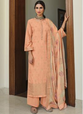 Designer Palazzo Suit Embroidered Silk in Peach