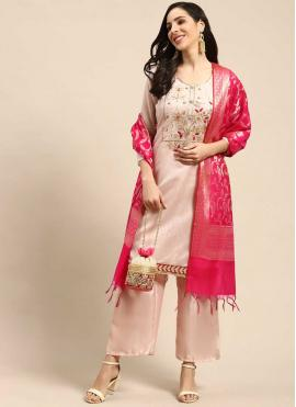Designer Palazzo Suit Fancy Silk in Pink