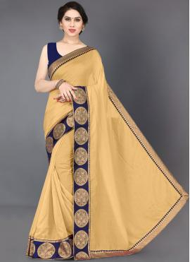 Designer Saree Border Silk in Beige
