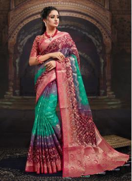 Designer Saree Digital Print Fancy Fabric in Multi Colour