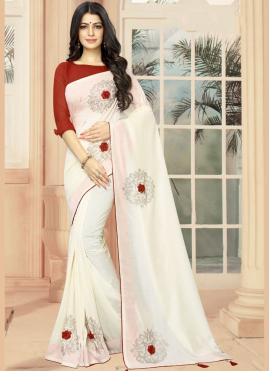 Designer Saree Embroidered Silk in Off White