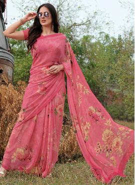 Designer Saree Floral Print Georgette in Pink