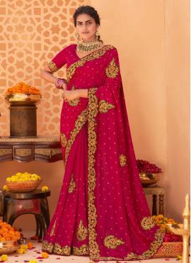 Designer Saree Patch Border Vichitra Silk in Hot Pink