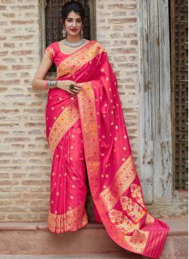 Designer Saree Weaving Silk in Pink