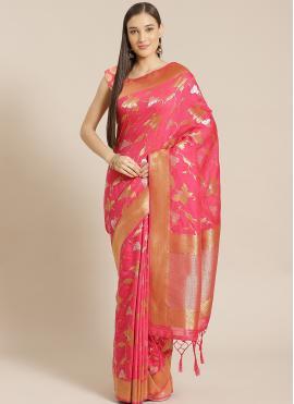 Designer Saree Woven Viscose in Rose Pink