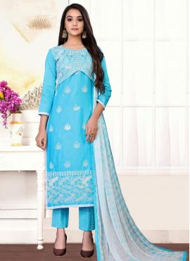 Designer Straight Suit Embroidered Cotton in Blue