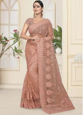 Designer Traditional Saree Embroidered Net in Beige