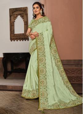 Designer Traditional Saree Patch Border Silk in Sea Green