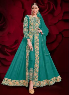 Desirable Embroidered Faux Georgette Sea Green Anarkali Suit