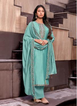 Desirable Handwork Blue Cotton Silk Palazzo Designer Suit