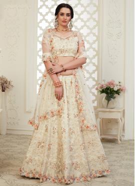 Desirable Off White Embroidered Banglori Silk Bollywood Lehenga Choli