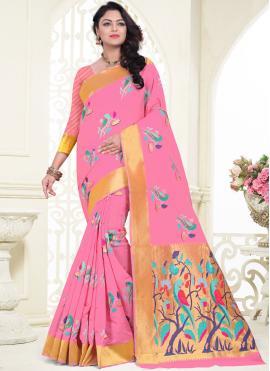 Desirable Pink Festival Classic Saree