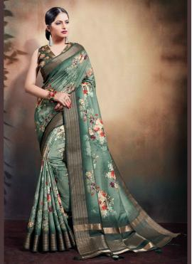 Digital Print Cotton Classic Saree in Green
