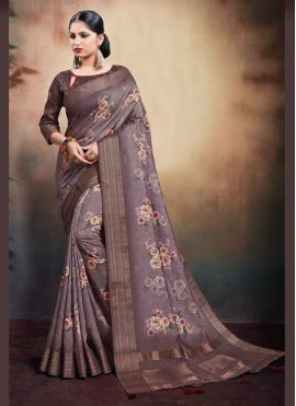 Digital Print Cotton Classic Saree in Mauve