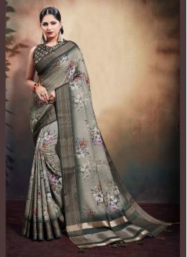 Digital Print Cotton Designer Saree in Grey