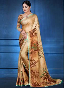 Digital Print Georgette Satin Printed Saree in Multi Colour