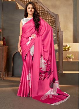 Digital Print Satin Silk Saree in Pink